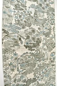 モノクローム四季の花風景の雪輪文様美しいしょうざんウール単着物