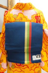 ラピスラズリブルーに三色縞レトロモダンなウール名古屋帯