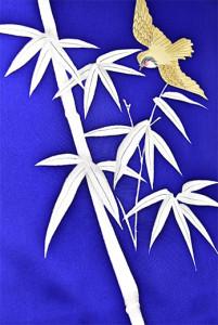 瑠璃色地竹林に遊ぶ雀愛らしい付下げ着物