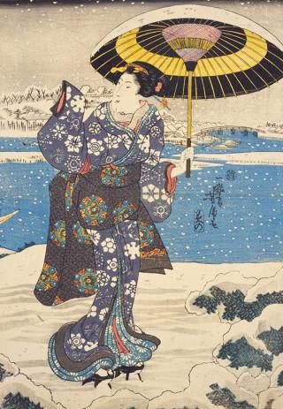 ☆錦絵で楽しむ四季の装い☆ 雪見のあで姿