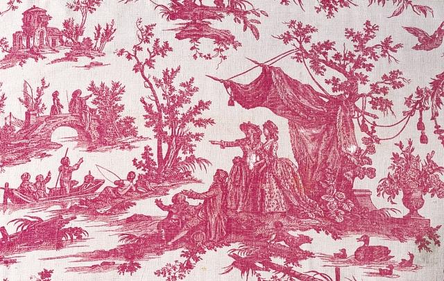 《お城の庭》J.B.ユエによるデザイン 1785年 銅版プリント・綿(ジュイ製)