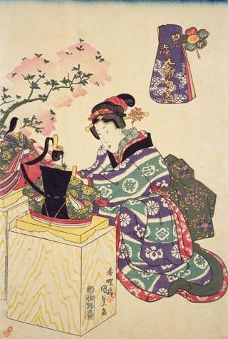 ☆錦絵で楽しむ四季の装い☆ 桃の節句の雛遊び