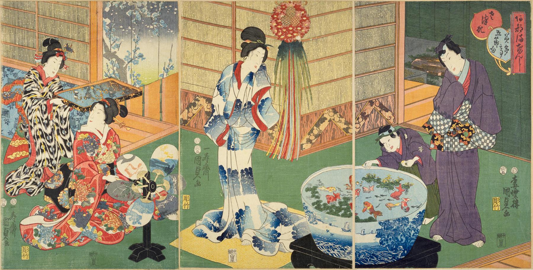 歌川国貞「あつまけんしみたて五節句」『時世源氏十二ケ月外源氏絵』安政2年(1855年)