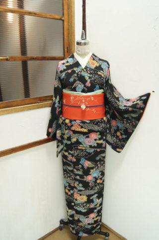 ☆新商品UP♪☆人気の黒地紅型柄着物やお能の帯☆