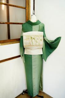 ☆新商品UP♪☆グリーン暈し染めの紬着物や縞ウールなど♪