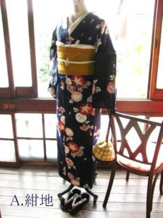 *着物コーディ* 朝顔の浴衣を落ち着いたカラシ色蝶の半幅帯で大人っぽくー☆
