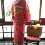 *着物コーディ*夏100%向日葵の浴衣に赤と黄色の半幅を合わせて(イラスト付き)
