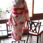*着物コーディ*菊花と蝶のような美しい模様のレトロ浴衣に夏帯を文庫に結んで♪