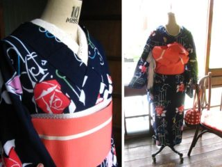 ♪着物コーディ♪アールヌーボーの鉄柵から覗くお嬢様の薔薇庭浴衣にサーモンピンクの幅広半幅を合わせて(^^)