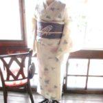 *着物コーデ*ラベンダーピンクのお花とブルーの葉が愛らしいサマーウールの着物にグルグル渦巻き帯を合わせて♪
