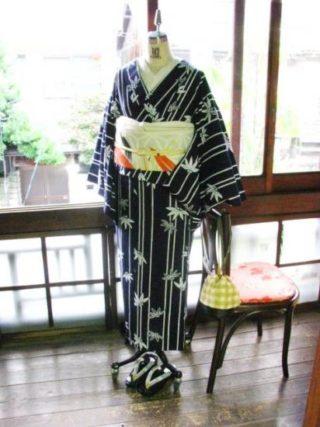 *着物コーディ*竹の浴衣に笹の帯(^^)