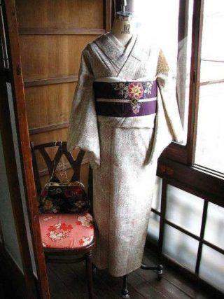*着物コーディ*繊細でルミナリエの様な模様が織り出された着物にナウシカの帯を合わせて♪