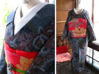 *着物コーディ*西洋タンポポが珍しいお着物に深紅に唐花が美しい帯を合わせて(^^)
