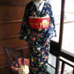 ☆着物コーディ☆紺地に三色の花色が愛らしい枝椿の着物に赤地に花枝が美しい付け帯を合わせて。