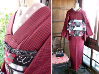 *着物コーディ*赤×黒チェックがガーリーな着物に薔薇と水玉がレトロモダンなリバーシブル帯を合わせて(^^)