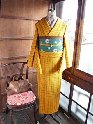 ☆着物コーディ☆レトロキュートでガーリーな黄色地にチェックの着物にお気に入り鹿熊帯を合わせて!