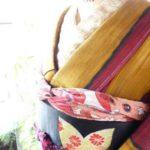 *着物コーディ*夢二好みのヨロケ縞袷着物に黒地楓帯と南国の葉銘仙長羽織を合わせて(^^)