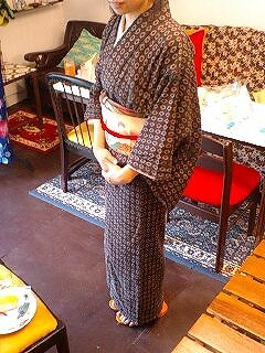 ユリの刺繍、アンティーク夏帯