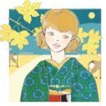 着物イラスト帖の お着物 *クローバーのアンサンブルで鹿とたわむる IN 奈良(^^)