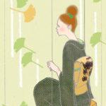 *着物イラストとその着物*秋風を感じてブランコ~緑の着物にアースカラーの付け帯
