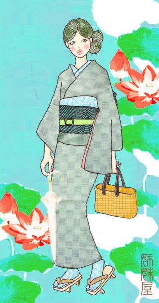 *イラストとお着物見比べ*爽やか水浅葱色の市松模様の単着物に深い緑に流れるキラキラ流水帯を合わせて♪