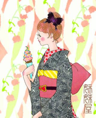 *イラストとお着物見比べ*黒地に蝶が舞飛ぶ夏着物にミニーちゃん単帯を合わせて♪