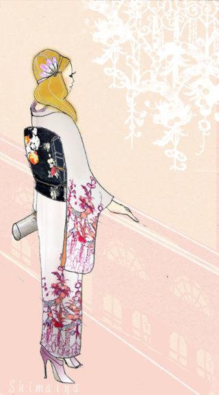 *着物イラストのイラストと着物*シャンデリアの付け下げとフラワーガール帯
