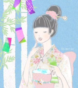 ♪イラストと着物♪ 淡い星のようなお花の着物にピンクのフワフワ名古屋帯を合わせて(^^)