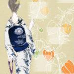 ☆イラストと着物☆和の花が西洋風に描かれた浴衣に涼やかな紺地に凛と立つ花の夏帯を合わせて♪