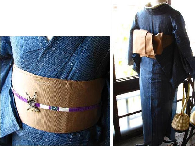 アンティーク着物リサイクル着物コーディネート_茶色の半幅帯