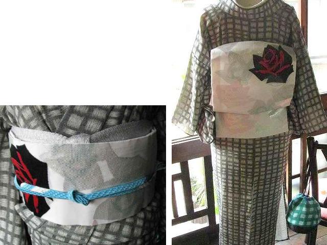 アンティーク着物リサイクル着物コーディネート_薔薇の夏帯