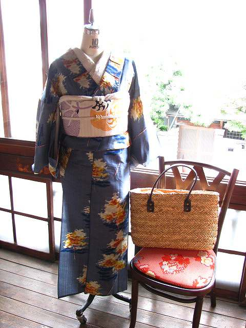 アンティーク着物リサイクル着物(木漏れ日の着物)
