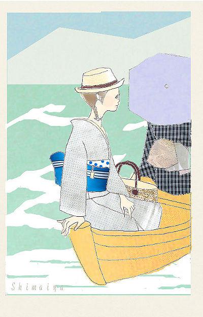 着物イラスト舟遊び